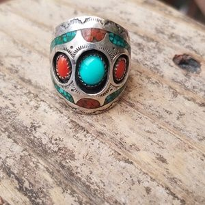 Coral, turquoise, sterling, authentic navajo ring